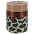 """3"""" x 4"""" Leopard Pillar Candle with Brown Ribbon 