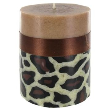 "3"" x 4"" Leopard Pillar Candle with Brown Ribbon 