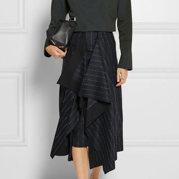 Cédric Charlier - Asymmetric pinstriped wool-blend skirt