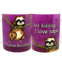 Sloth Loves Running Mug by Pithitude - One Single 11oz. White Coffee Mug