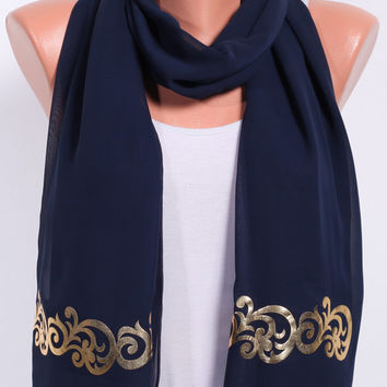 Satin scarf Birthday gift ideas for her summer scarves navy blue scarf shawl scarf womens scarves womens fashion scarves spring scarf