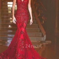Red lace sequin long mermaid long prom dress, formal dress