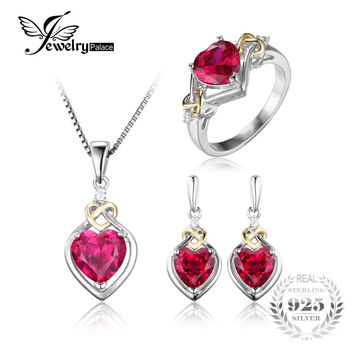 JewelryPalace Love Knot Heart 8.4ct Created Ruby Anniversary Promise Ring Drop Dangle Earrings Pendant Necklace 925 Sterling