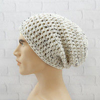 Slouchy Hat for Men, Crochet Beanie Cap, Winter Hat Crochet, Vegan Beanie, Hipster Style Hat, Baggy Beanie, OATMEAL Beanie, Gift for Him