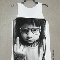 Little Girl Middle Finger White Singlet Vest Tunic Tank Top Sleeveless Shirt Women Indie Punk Indie Pop Rock T-Shirt Size S-M