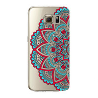 Floral Paisley Flower Mandala Henna Phone Case Samsung Galaxy S5 S6 S6Edge S6edgeplus S7 S7edge Clear Silicon Soft