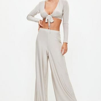 Missguided - Silver Disco Slinky Wide Leg Pants