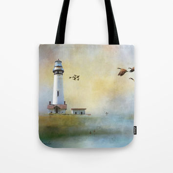 Lighthouse Bay II Tote Bag by Theresa Campbell D'August Art