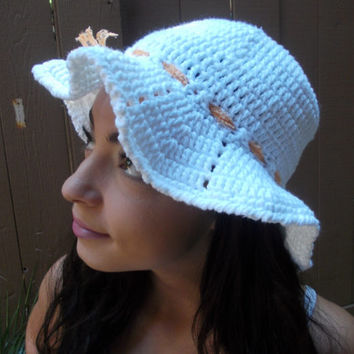 Crochet Sun Hat - Brimmed Hat - Beach Hat - White Crochet Hat - Crochet Floppy Hat - Fashion Accessories - Vegan Friendly - Ready to Ship