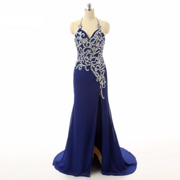 Royal blue Mermaid Halter Beaded High Split Chiffon long Evening dresses