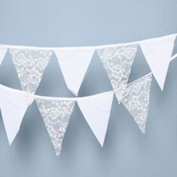 White Lace Fabric Garland Flag Bunting Pennant Banner Decoration Photo Prop - PRF102