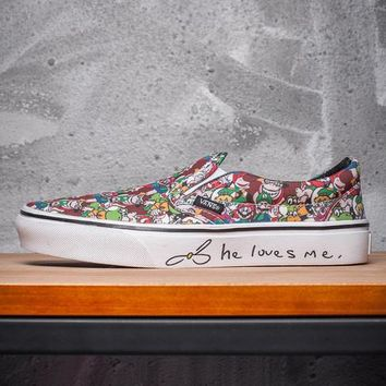 Trendsetter VANS x Love Me Print Slip-On Old Skool Canvas Flat Sneakers Sport Shoes