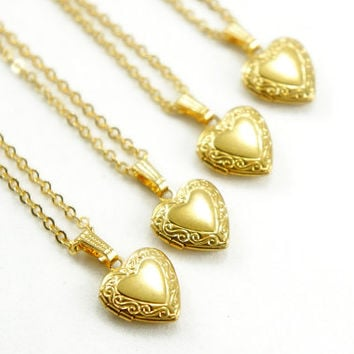 Tiny Vintage Heart Locket Necklace - Bridesmaids Gifts Idea - Romantic Gift Idea - VL000
