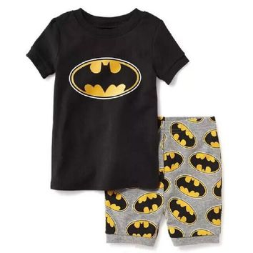 Batman Dark Knight gift Christmas 2018 Batman Baby Boys Girls Short Sleeve Cartoon Pajama Set Children's 2Pieces Sleepwear Clothing Sets Nightwear AT_71_6