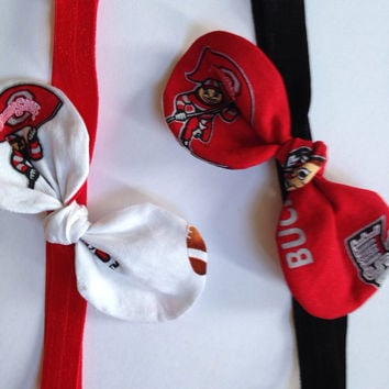 Ohio State Fabric Headband, OSU Headband with Knot Bow, Buckeye Headband