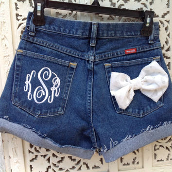 Monogram Pocket High Waisted Shorts Your Initials Your Size Choice of Colors Sorority Prepster //SuzNews Etsy Store//