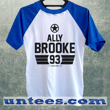 Ally Brooke Fifth Harmony Basic Baseball Tee Blue Short Sleeve Cotton Raglan T-shirt
