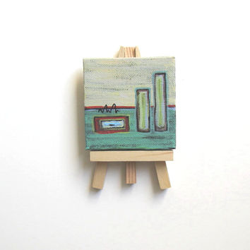 Turquoise Abstract Miniature Painting Original acrylic on a mini canvas