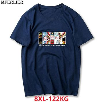 MFERLIER summer men t-shirts funny plus size big 6XL 7XL tshirt 8XL solid colour Hipster print cotton O-neck loose navy blue red