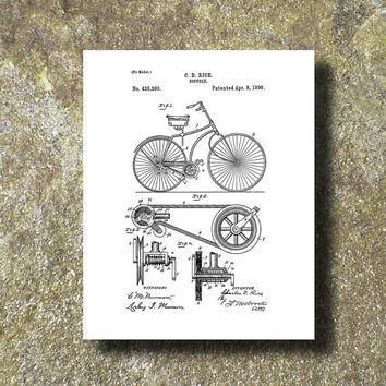 Bicycle Patent Art Print Illustration Printable Instant Download Print Poster UP004w