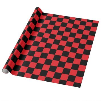 Checkered Red and Black Wrapping Paper