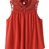 Red Sleeveless Crochet Ruched Tank