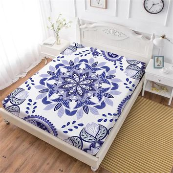 Cool Purple Flowers Fitted Sheet Mandala Print Bed Sheets King Queen Elastic Band Mattress Cover Soft Bedclothes D45AT_93_12