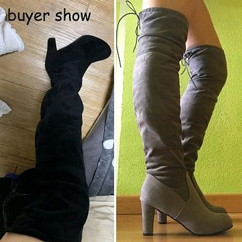 Litthing Women Thigh High Boots Fashion Suede Leather High Heels Lace up Female Over The Knee Boots Shoes 2019  Plus Size 43