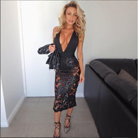2016 Sequin Sexy Black Mesh Bandage Dresses Sexy Club Dress Backless Bodycon Night Club Wear Party Dress Vestido De Festa