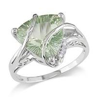 5 Carat Green Amethyst and Diamond Fashion Ring in 14k White Gold