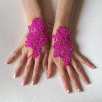 fuchsia Wedding gloves lace gloves free ship bridal bride gauntlets prom party bridesmaid gift