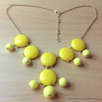 YELLOW Bubble Necklace,J.Crew Inspired Statement Necklace Jewelry, Wedding Gift, FREE Gift Packaging Available, High Quality