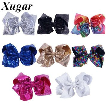 8 Inch Large Sequin Hair Bows Hairclips For Girls Handmade Rainbow Dance Party Kids Boutique Hair Accessories Hairpins