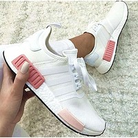 "simpleclothesv : ""Adidas"" NMD Fashion Sneakers Trending Running Sports Shoes Whtie-pink"
