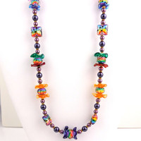 Calypso Song Beaded Necklace, Lampwork Necklace, Beadwork Necklace, Women's Jewelry, Gifts for Her