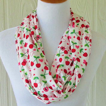 Infinity Scarf , Cherry, Cherries, Hearts , Circle Scarf, Loop Scarf, Necklace Scarf, Scarves, Eclectasie