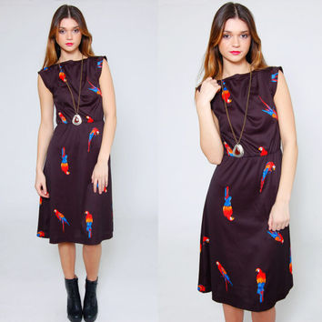 Vintage 80s BIRD Print Dress BLACK Sleeveless Midi Dress Parrot Print NOVELTY Dress