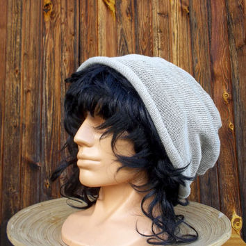 knitted linnen summer hat knit gray cap light grey beanie eco friendly slouche knitting cloche women's accessories men's tam head dress