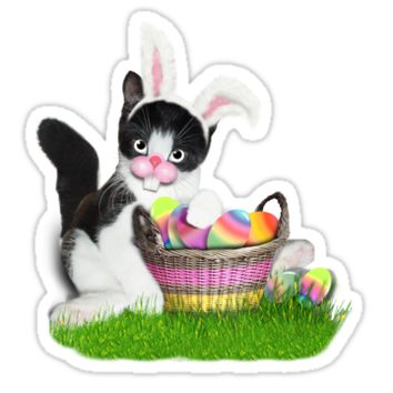 'Cute Easter Kitty' Sticker by Gravityx9