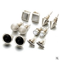 Elegant ear nail set combination of fashion accessories 6 pairs of earrings combo CARDS