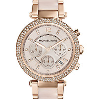 Michael Kors Rose Goldtone-Finished Stainless Steel Sparkle Chronograph Bracelet Watch