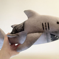 "Industrial steampunk-style stuffed animal ""mechanical"" shark with gears"