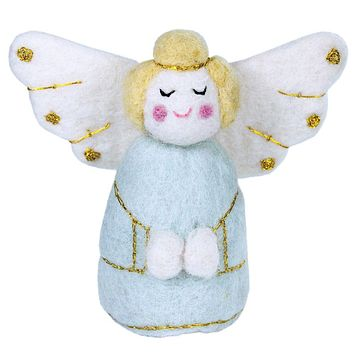 Blue Golden Angel Fair Trade Felt Tree Ornament