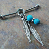 Tribal, bohemian, feathers turquoise stones Industrial/Scaffold barbell 14 gauge stainless steel body jewelry