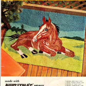 """Vintage 34"""" x 48"""" Aunt Lydia's Punch Needle Rug Foundation Canvas """"Pastoral"""" for Horse Theme Rug or Wall Hanging Equestion Decor Rug Making"""