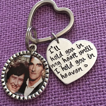Photo Keychain - Memorial Keychain - Picture Keychain - I'll hold you in my heart - Photo Memorial - Rememberance - Sympathy gift - Memorial
