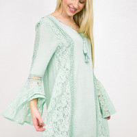 Lace Detailed Bell Sleeve Dress