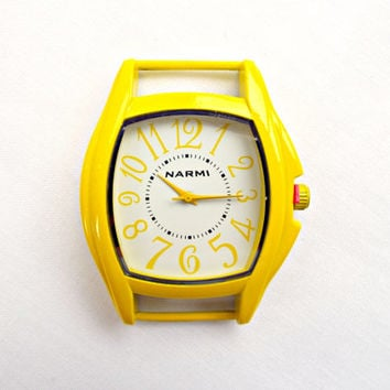 Yellow Watch Face, Square Yellow Face, Watch Making Supply, Large Watch Face, 2 x 1.6in, Solid Bar Watch Face in Yellow White Watch Supply
