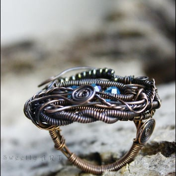 Copper wire ring, wire wrapped ring, handmade ring, bohemian jewelry, victorian ring, antique, dragon eye, steampunk ring, copper jewelry