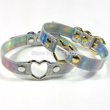 DCCKLG2 Handcrafted Holographic Heart Choker Silver Gold Metal Laser Cut Collar Punk Gothic Belt Necklace